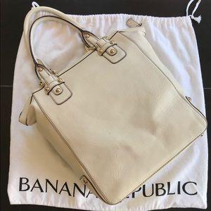 Banana Republic Leather Tote Cream w/Gold Hardware